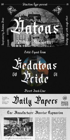 Ad: Datons is a font that is made with a vintage touch but doesn't lose its signature Blackletter font style. Perfect for headlines or brand names or any other spooky & vintage themed design need. $17