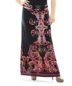 Another great find on #zulily! Black & Red Ornate Maxi Skirt - Plus #zulilyfinds