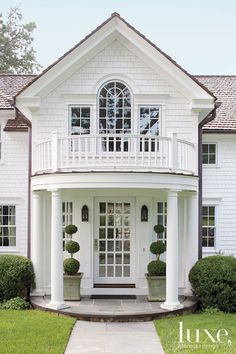 Portico entrance, clapboard siding