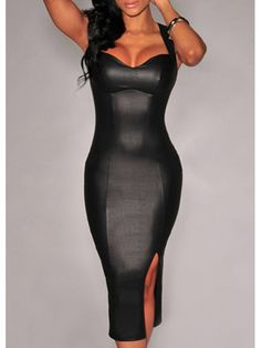 Modern Dresses: Slit Design Cutout Back Black Dress