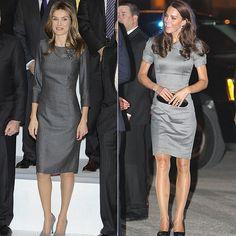 Hello!-Queen Letizia and Duchess of Cambridge in grey dresses