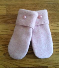 Pale Pink Repurposed Lambswool Sweater Mittens in Women's Size Small with Cream Fleece Lining and Vintage Pink Buttons-Ready to Ship by SewforYou on Etsy