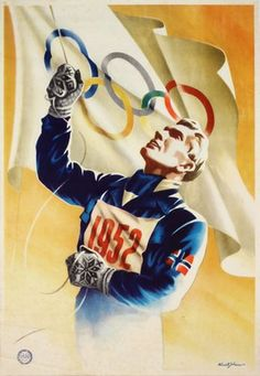 Oslo 1952 Oslo Winter, Olympic Flag, Vintage Ski Posters, Norway Oslo, Art Of Man, Winter Games, Poster Ads, Winter Olympics, Winter Sports