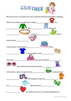 Clothes worksheet - free esl printable worksheets made by teachers. English Reading, English Fun, English Lessons, Learn English Kid, English Worksheets For Kids, English Activities, Comprehension Exercises, Reading Comprehension, Learning English For Kids
