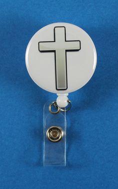 Silver Cross Button Retractable Badge Reel, ID Badge Holder