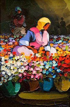 """hitku: """"by Saim Dursun """" Paintings I Love, Indian Paintings, Beautiful Paintings, Sketch Painting, Indian Art, African Art, Oeuvre D'art, Watercolor Art, Modern Art"""