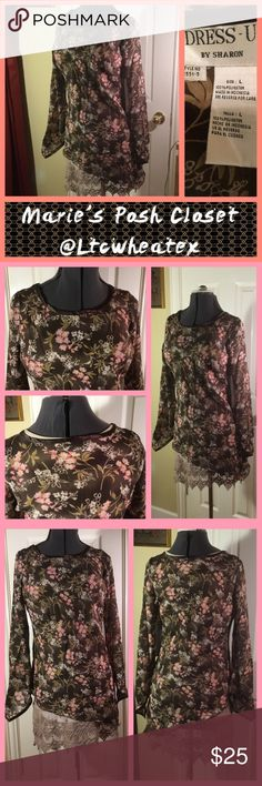 Soft FloralPrint Blouse Print blouse in brown background with cream and pink flowers. Trumpet sleeves and similar hem. Very sheer, so wear another top underneath for best coverage. EUC. Sharon Tops Blouses