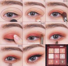 Korean Makeup Tips, Korean Makeup Look, Korean Makeup Tutorials, Asian Eye Makeup, Eye Makeup Steps, Makeup Eye Looks, Eye Makeup Art, Eyeshadow Makeup, Eyeshadow Tutorials