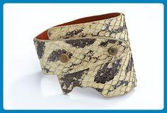 Genuine Anaconda Wide-Wrap Luxury Bracelet in Bone (Off-White) - Exotic Leather - Wedding bracelets (*Amazon Partner-Link)