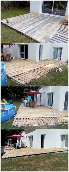 Deck designing of the wood pallet is one of the most demanding ideas which you can carry out while using the old shipping pallets reuse. Deck designing is basically done through the covering of the flat surface of the garden areas. Pallet Patio Decks, Pallet Porch, Pallet Home Decor, Diy Deck, Pallets Garden, Wood Pallets, Pallet Wood, Outdoor Pallet, Diy Patio