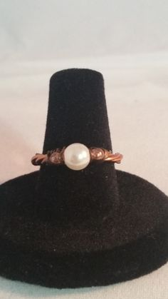 Pearl and Copper Wire Ring