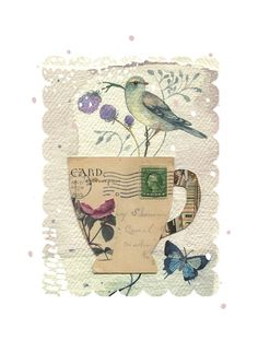 Collaged postcard teacup with a birdy visitor. This is an open edition, archival print of an original mixed media illustration by Rachel Grant. Rachel Grant, Glue Book, Mixed Media Techniques, Collage Art Mixed Media, Tea Art, Encaustic Art, Mail Art, Funny Art, Bird Art