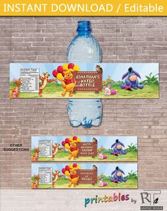 Personalized Winnie the Pooh Water Bottle Label di printablesbyrta