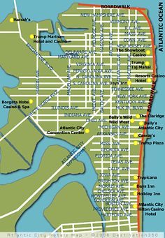Atlantic City Hotel Map. Find your way around using the map of Atlantic City hotels and discover all of the attractions in the area.