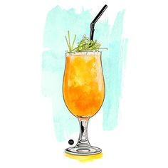 Watercolor cocktails illustrations commissioned by Stylist Magazine (UK).