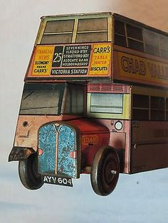 VINTAGE CARRS CHAD VALLEY BUS RARE FIGURAL BISCUIT TIN c1950S routemaster