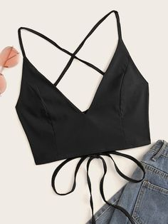To find out about the Solid Lace-up Tie Back Cami Top at SHEIN, part of our latest Tank Tops & Camis ready to shop online today! Cami Tops, Cami Crop Top, Camisole Top, Mode Outfits, Fashion Outfits, Diy Clothes, Clothes For Women, Do It Yourself Fashion, Vetement Fashion