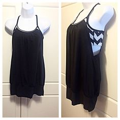 "Lululemon Black Tank w/ Chevron Print Bra Scoop neck racer back tank with attached black & white print bra. Size label missing but measurements are: Bust 14"", Waist 16"", Length 25"", which be a size 4 in Lululemon sizing. lululemon athletica Tops Tank Tops"