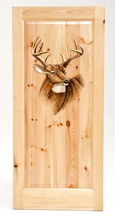 Hand carved door featuring a buck by Woodland Creek Furniture Cool Doors, Unique Doors, Knotty Pine Doors, Cabin Crafts, Cabin Doors, Interior Window Shutters, Custom Wood Doors, Wood Burning Patterns, Door Accessories