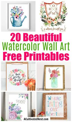 20 Gorgeous Watercolor Wall Art Free Printables- Free printables are a great way to update your homes decor on a budget! If your homes art needs a refresh, check out these 20 beautiful watercolor wall art free printables! Free Printable Artwork, Printable Images, Floral Printables, Summer Free Printables, Watercolor Walls, Watercolors, Free Art Prints, Floral Wall Art, Halloween Art