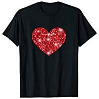 Red Heart T-Shirt Cool Faux Sparkle Valentines Day Gift Tee Valentine T Shirts, Valentine Day Gifts, Personalized Valentine's Day Gifts, Sparkle, T Shirts For Women, Heart, Mens Tops, Fashion, Moda