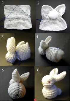 First crochet (or knit) a washrag using your favorite pattern. Then using a coordinating thread (the blue in photo is just for instructional purposes) to sew up as pictured; adding fluffs of poly-f...
