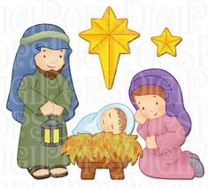Natividad Digital Clip Art Set personales y por DigiPops en Etsy