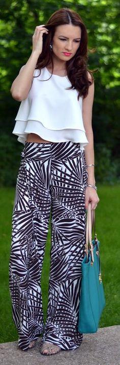 Zara Black And White Jungle Print Palazzo Pants by My Silk Fairytale