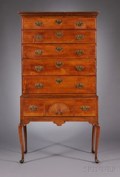 queen anne carved cherry high chest of drawers sale number 2608m lot number