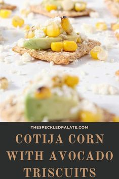 Cotija Corn Avocado TRISCUIT Crackers -- CotijaCornOcadoScuits -- are the perfect summertime appetizer! Corn is boiled in its husk, then grilled for a lovely char. An avocado is sliced. Cotija cheese is crumbled. TRISCUIT Original Crackers are topped with an avocado slice, the corn kernels and the cotija before being devoured. This savory, slightly salty appetizer makes a tasty vegetarian starter for any crowd this season! #ad #TRISCUITSummer #appetizer #corn Vegetarian Starters, Cotija Cheese, Corn Kernel, Crackers, Warm Weather, Entrees, Crowd, Summertime, Grilling