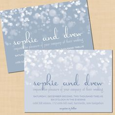 Winter's Snow Wedding Invitation - 5 x 7. $16.00, via Etsy.