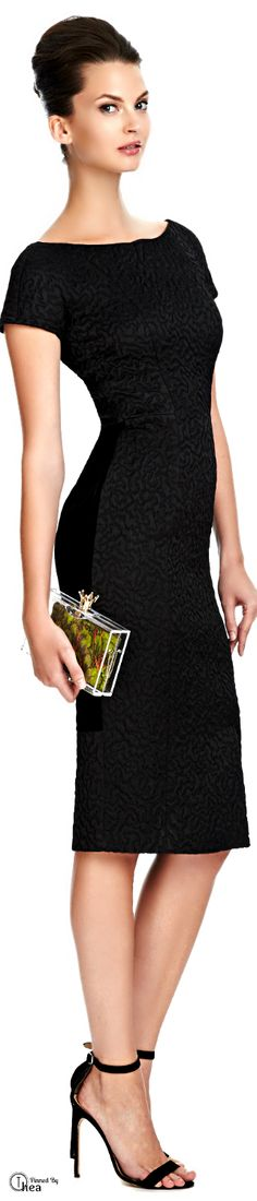 "Rochas ● Black Jacquard Dress (Model is carrying ""Enchanted Forest Royal Pandora Perspex Clutch"" by Charlotte Olympia)."