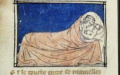 """""""L'Amor Carnale"""". Miniatura tratta dal manoscritto """"Roman de la Rose"""" nella copia del 1325. Dettaglio dal foglio 196v.  (Biblioteca Nazionale Centrale, Firenze)"""