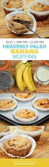 These Paleo Banana Muffins are sweet, moist and incredibly scrumptious! They taste just like banana bread but in a tasty bite-sized version. Paleo Muffin Recipes, Whole Food Recipes, Primal Recipes, Snack Recipes, Bread Recipes, Paleo Sweets, Paleo Dessert, Paleo Banana Muffins, Banana Bread