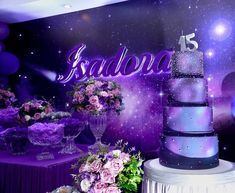 Best Picture For Galaxy themed birthday party decorations For Your Taste You are looking for something, and it is going to tell you exactly what you are looking for, and you didn't find that picture. 40th Birthday Parties, 15th Birthday, Birthday Party Decorations, Sweet Fifteen, Sweet 16 Decorations, Quince Decorations, Galaxy Cake, Quinceanera Themes, Purple Themes