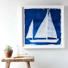 Madeline and Robert Longstreet, a mother and son team who are both artists and photographers, have combined their talents to create unique artwork. This particular collection of cyanotypes is inspired by the sea. A cyanotype is one of the oldest photograp...