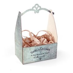 Create something rustic and visually interesting when you use the Fancy Crate Bag Die from the French Farmhouse Collection by Jen Long for Sizzix. This Bigz XL Elizabeth Craft Designs, Decoupage, Printable Box, Fancy, Card Maker, How To Make Paper, Paper Goods, Creative, Crates