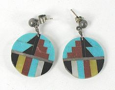 Inlay Post Earrings on Mother of Pearl Discs earrings E539 Vintage Earrings, Vintage Jewelry, Native American Earrings, American Indian Jewelry, Drop Earrings, Pearls, Sterling Silver, Native American Jewelry, Beads