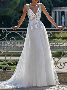 Simple Wedding Dress 2021 A Line V Neck Straps Sleeveless Lace Appliqued Tulle Bridal Gown   Newarrivaldress.com Sincerity Bridal Wedding Dresses, Dream Wedding Dresses, Bridal Gowns, Short Girl Wedding Dress, Wedding Dress Tulle, Beach Wedding Gowns, Beach Bridal Dresses, Bridal Gown Styles, Wedding Dress Pictures