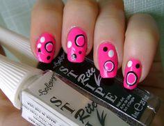 Hot Pink and Black Nail Designs