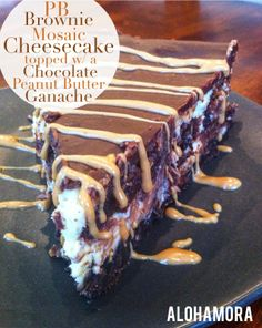 Peanut Butter Brownie Mosaic Cheesecake topped w/ a Chocolate PB Ganache | Alohamora: Open a Book Amazing and delicious dessert/cake.  Not hard to make, but it does take a little time.  It's oh so delicious!