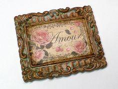 Pentart dekor: Kép, patinás kerettel
