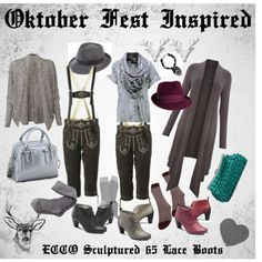 Inspired from Oktober Fest, Bavarian/Austrian native clothing with sophisticated mix, featuring ECCO Sculptured 65 Lace Boots German, Sculpture, Shoe Bag, Inspired, Lace, Party, Polyvore, Stuff To Buy, Inspiration