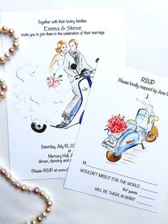 Custom Illustrated Wedding Invitation and RSVP card, Vespa Wedding Invitation, Unique Wedding Invites, Watercolor Wedding Stationery by DCinStyle on Etsy https://www.etsy.com/listing/235576469/custom-illustrated-wedding-invitation