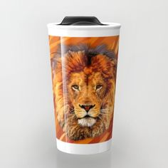 Old Lion Digital Art painting Travel mug #travelmugs #Leopard #albinoleopard #tiger #lion #hyenas #hyaenas #cat #animals #jaguar