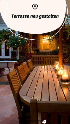 WOHNKLAMOTTE inspiriert Dich mit Ideen rund um Terrasse und Balkon. In unserem Artikel erfährst Du, wie Du Deine Terrasse neu gestalten kannst. Outdoor Furniture, Outdoor Decor, Table, Home Decor, Balcony, Round Round, Plants, Homes, House