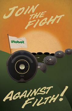 Roomba WWII propaganda-style poster #cool #art #design