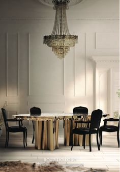 Dream Gold Dining Table and Chandelier