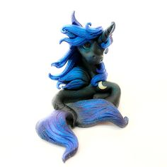 Nightmare Moon Princess Luna Merfilly mermaid Horse Filly By Whisper Fillies Whisperfillies.etsy.com Unique little handmade polymer clay horse, pony, unicorn and fantasy creatures  Find my work on Instagram and Facebook too! Nerd geek geeky collectible model horse nerdy kawaii whimsical art doll dolls toy