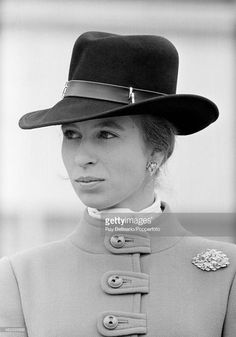 Princess Anne attending the Royal Armoured Corps parade at Bovington Camp in Dorset on 15th April 1971. This image is one of a series taken by Ray Bellisario who was credited with being the 'original paparazzo' and someone who frequently upset the Royal Family with his informal and often unwelcome style of photography.